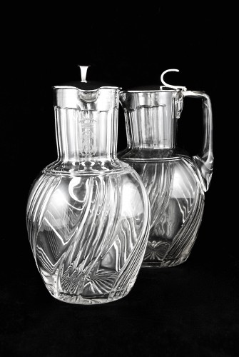BACCARAT - LAGRIFFOUL & LAVAL, two crystal and sterling silver decanters - Antique Silver Style Art Déco