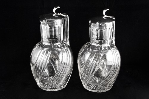 Antique Silver  - BACCARAT - LAGRIFFOUL & LAVAL, two crystal and sterling silver decanters