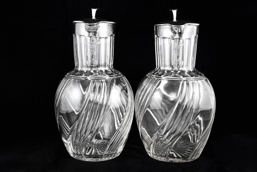 BACCARAT - LAGRIFFOUL & LAVAL, two crystal and sterling silver decanters -