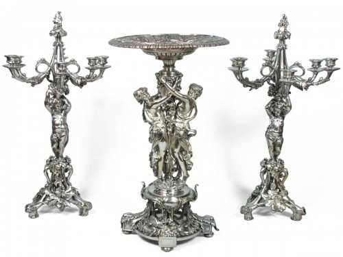 Christofle silvered bronze center piece and candelabras, 19th century