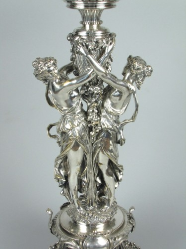 Antique Silver  - Christofle silvered bronze center piece and candelabras, 19th century