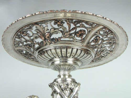 19th century - Christofle silvered bronze center piece and candelabras, 19th century
