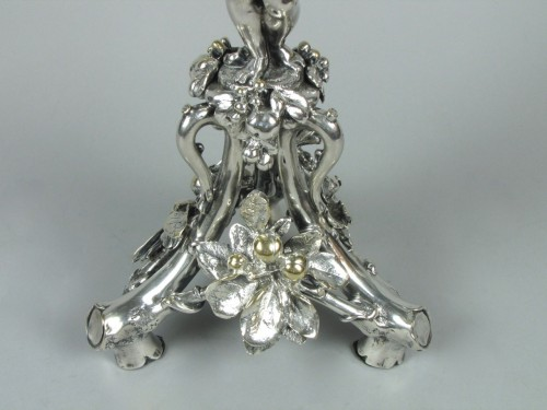 Antiquités - Christofle silvered bronze center piece and candelabras, 19th century