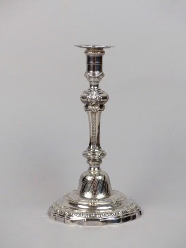 Pair of Louis XV silver candlesticks, Paris by Edmé-Pierre Balzac - Antique Silver Style Louis XV