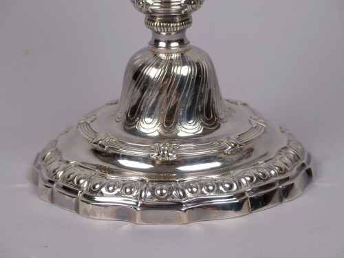 18th century - Pair of Louis XV silver candlesticks, Paris by Edmé-Pierre Balzac