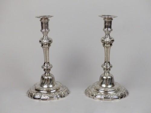 Antiquités - Pair of Louis XV silver candlesticks, Paris by Edmé-Pierre Balzac
