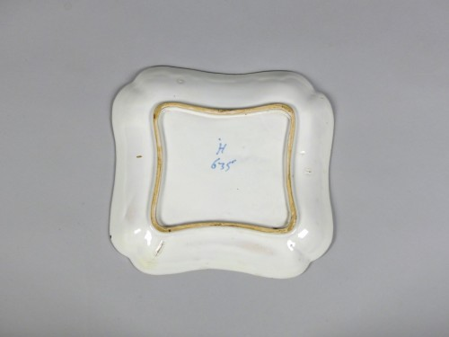 Pair of square faience dishes, Strasbourg Hannong 18th century -
