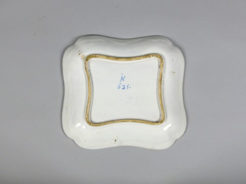 18th century - Pair of square faience dishes, Strasbourg Hannong 18th century