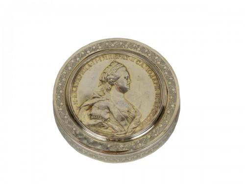 Boîte ronde en argent, Russie XVIIIe siècle