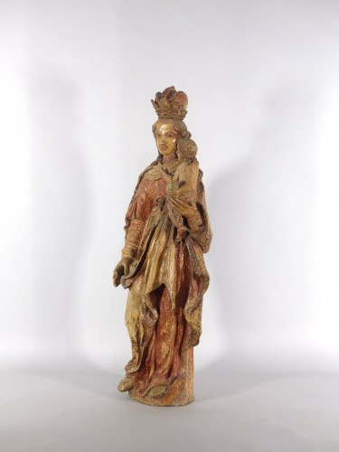 Madonna and Child, Sarthe 18th century - Sculpture Style Louis XIV