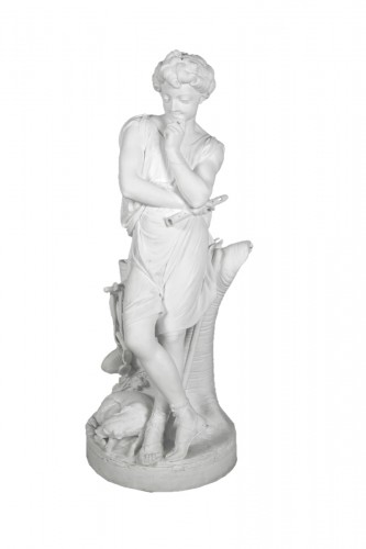 Le Mire, young shepherd in porcelain biscuit made in Niderviller