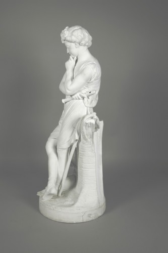 Le Mire, young shepherd in porcelain biscuit made in Niderviller - Porcelain & Faience Style