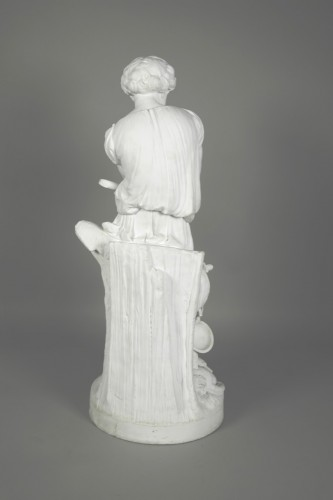 Porcelain & Faience  - Le Mire, young shepherd in porcelain biscuit made in Niderviller