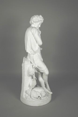 Le Mire, young shepherd in porcelain biscuit made in Niderviller -