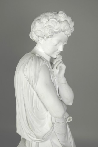 18th century - Le Mire, young shepherd in porcelain biscuit made in Niderviller