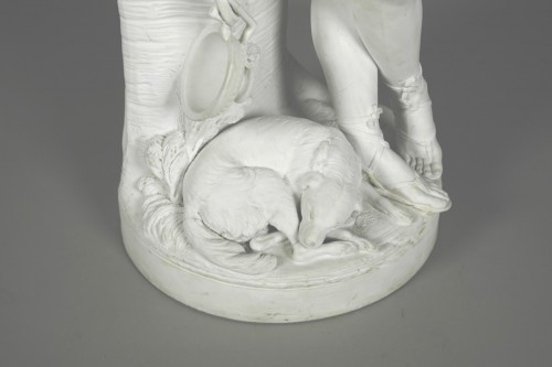 Antiquités - Le Mire, young shepherd in porcelain biscuit made in Niderviller
