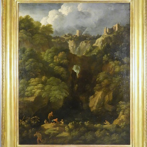 Tivoli's waterfall - Attributed to Jan Frans van Bloemen - Paintings & Drawings Style