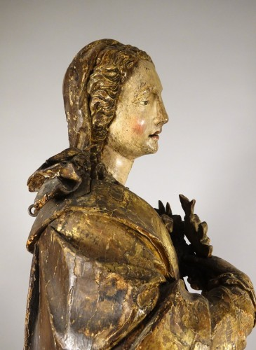 17th century - Tall polychrome statue