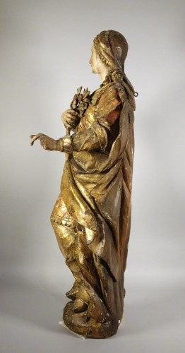 Antiquités - Tall polychrome statue
