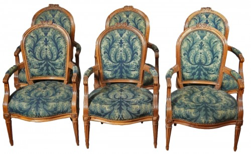 Set of six Louis XVI armchairs