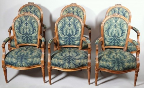 Antiquités - Set of six Louis XVI armchairs