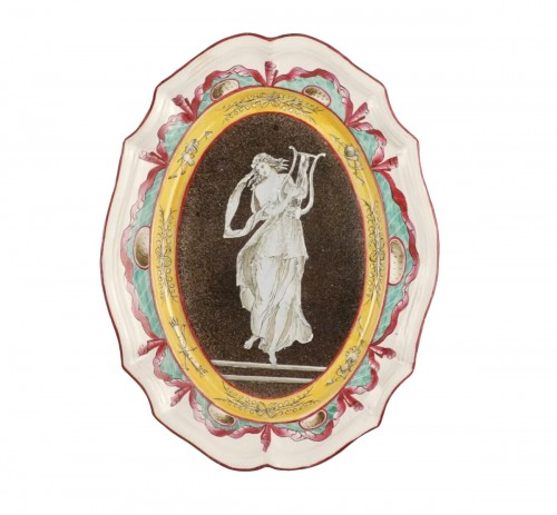 Faience dish with muse, East of France, early 19th century