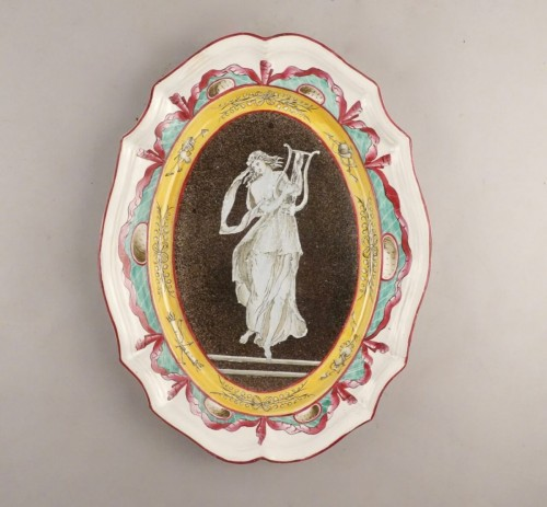 19th century - Faience dish with muse, East of France, early 19th century