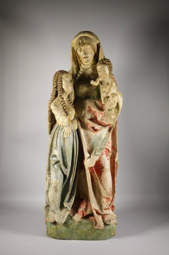 The Virgin and Child with Saint Anne, circle of Hans Wydyz - Sculpture Style Middle age