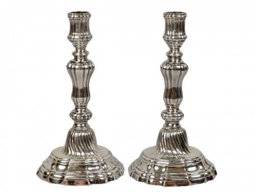 Pair of silver candlesticks, Orléans 1770-1772