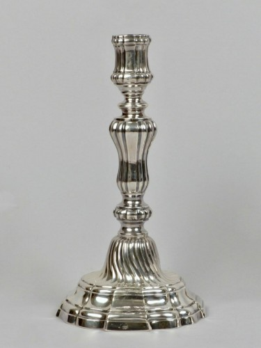 Pair of silver candlesticks, Orléans 1770-1772 - Antique Silver Style Louis XV