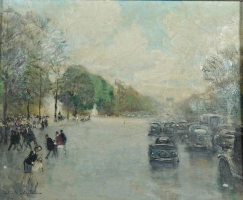 Jules René Hervé (1887-1981) - Paris, The avenue des Champs Elysées - Paintings & Drawings Style
