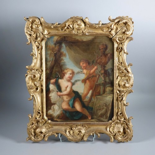 Allegories of painting and sculpture, attributed to Christian Bernhard Rode -