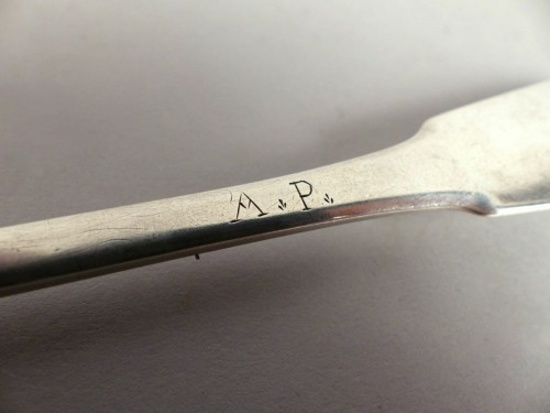 Silver olive spoon, France 18th century -