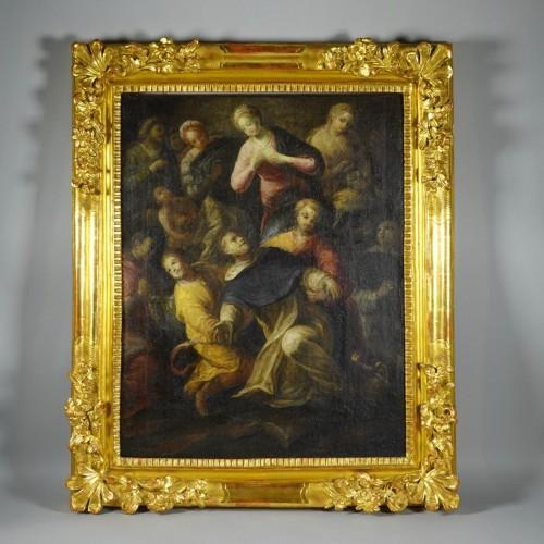 Antiquités - Saint Dominic de Guzmán receiving the Rosary from the Virgin