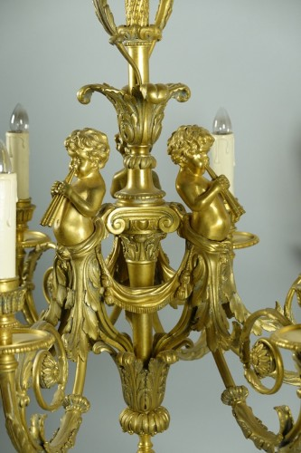 Lighting  - Chandelier in gilded bronze, in the style of Pierre Gouthière