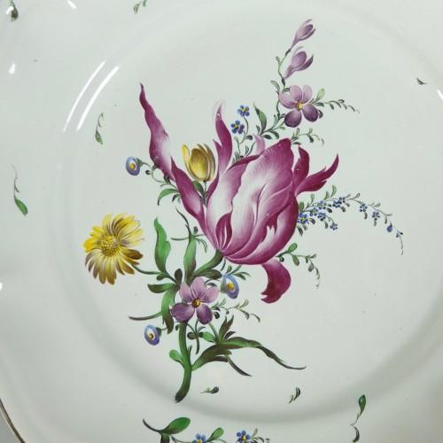 Strasbourg faience plate, Joseph Hannong 18th - Porcelain & Faience Style