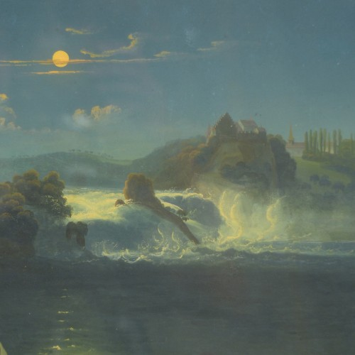 Rhine Falls in the moonlight, circa 1830 - Paintings & Drawings Style Louis-Philippe