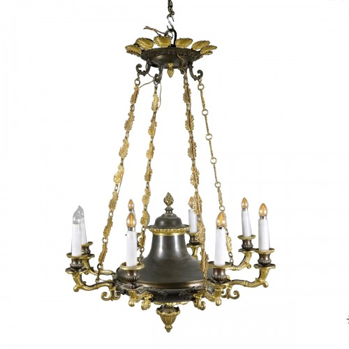 Gilded and black patina bronze Chandelier