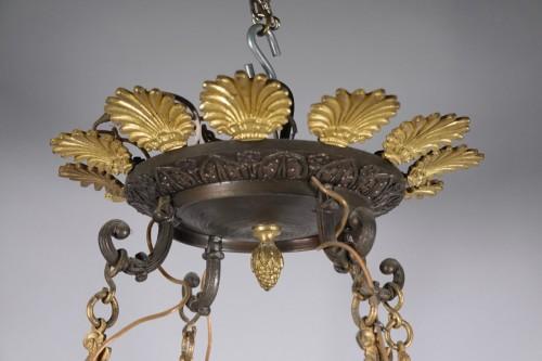 Restauration - Charles X - Gilded and black patina bronze Chandelier
