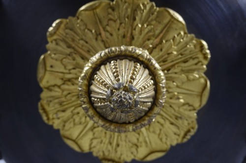 Antiquités - Gilded and black patina bronze Chandelier