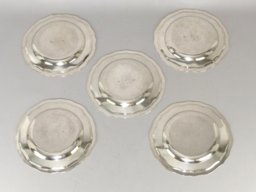 Five Berlin silver plates, mid 18th century -