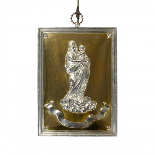Silver exvoto with Virgin with Child, 19th century