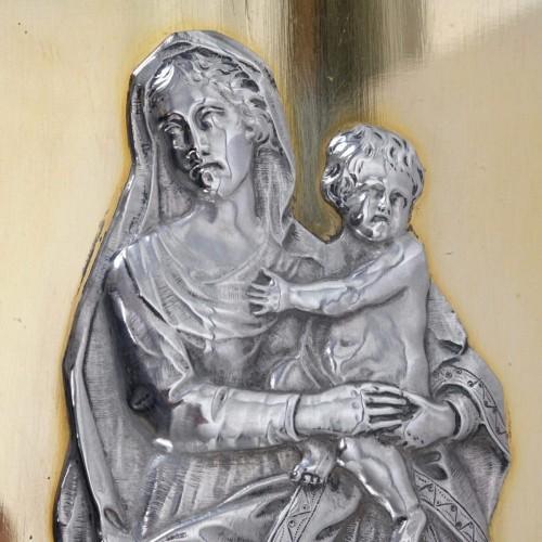 Silver exvoto with Virgin with Child, 19th century - Religious Antiques Style Restauration - Charles X