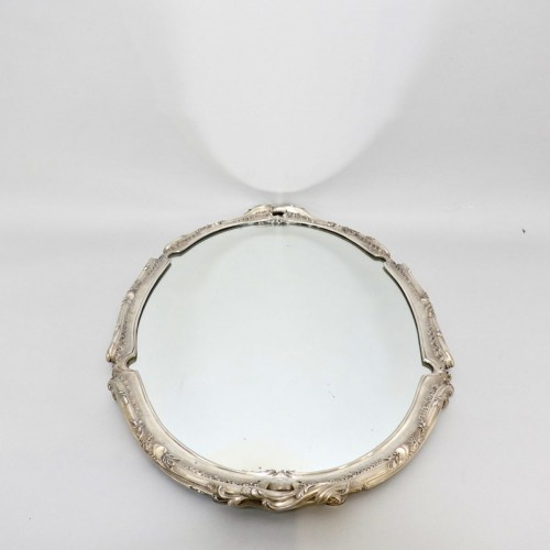 Silver surtout de table with mirror -