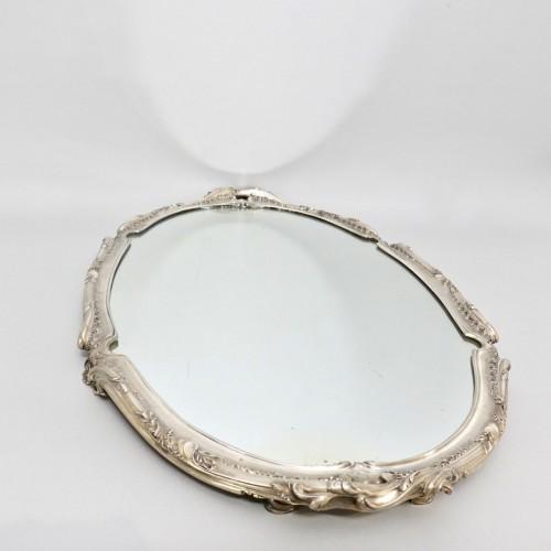 - Silver surtout de table with mirror