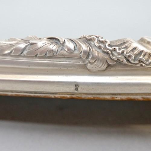 Antiquités - Silver surtout de table with mirror