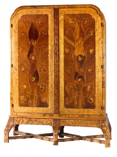 Carl Bergsten - A marquetery cabinet. Sweden circa 1910