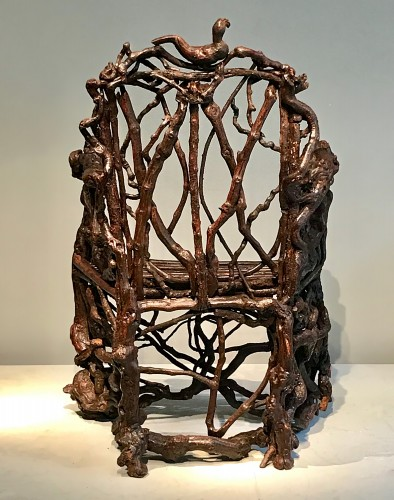 Seating  - Extraordinary armchair composed of an assembly of branches of wood