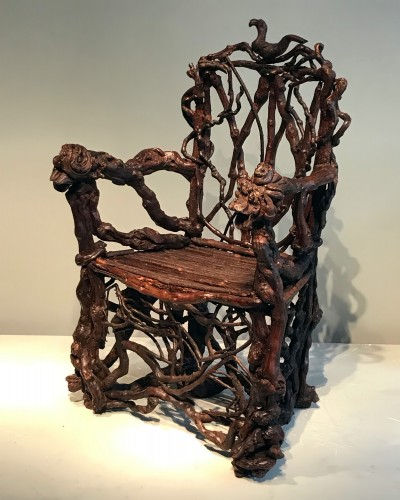 19th century - Extraordinary armchair composed of an assembly of branches of wood