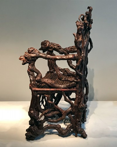 Extraordinary armchair composed of an assembly of branches of wood - Napoléon III